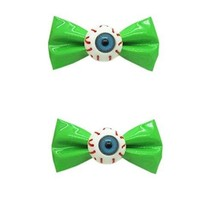 [1 Pair] Zipper Style GREEN Bowknot Hair Clips Eye Ball Bowknot Hair Barrettes