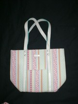 Longaberger Homestead Small Striped Lined Tote/Purse Double Leather Hand... - $14.99