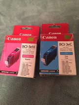 Canon BCI-3eC Cyan & BCI-3eM Magenta Ink Cartridges Tanks,Genuine OEM - $11.60