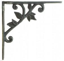 "Lot of 4 Wall Shelf Bracket Cast Iron Brace Vine & Leaf Verdigris 8.375"" Deep N - $42.99"