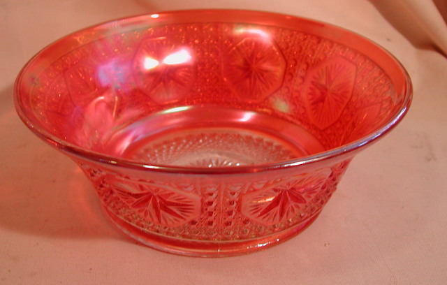 Imperial Star Medallion Marigold Carnival Glass Bowl