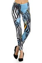 Fashion Mic Light Blue Zebra Print Leggings 827PT110 - $21.99