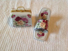 High Heel Shoe & Purse Figurine Trinket Box Set Imperial Porcelain Red R... - $18.32