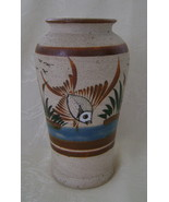 Vase, Signed Pottery with Rough Sand Finish, Fish with Cattails Design - $20.00