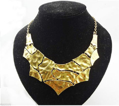New Vintage Style Gold Plated  Geometric Puzzle Huge Pendant _Necklace - $12.99