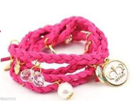 Braided Leather Pink  Bracelet_ Wristband Strand With  Charms - £7.88 GBP