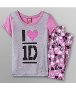 ONE DIRECTION 1D Gray/Pink Hearts PAJAMAS 6/6x NeW 2 pc Set Pjs S/S Shir... - $24.99