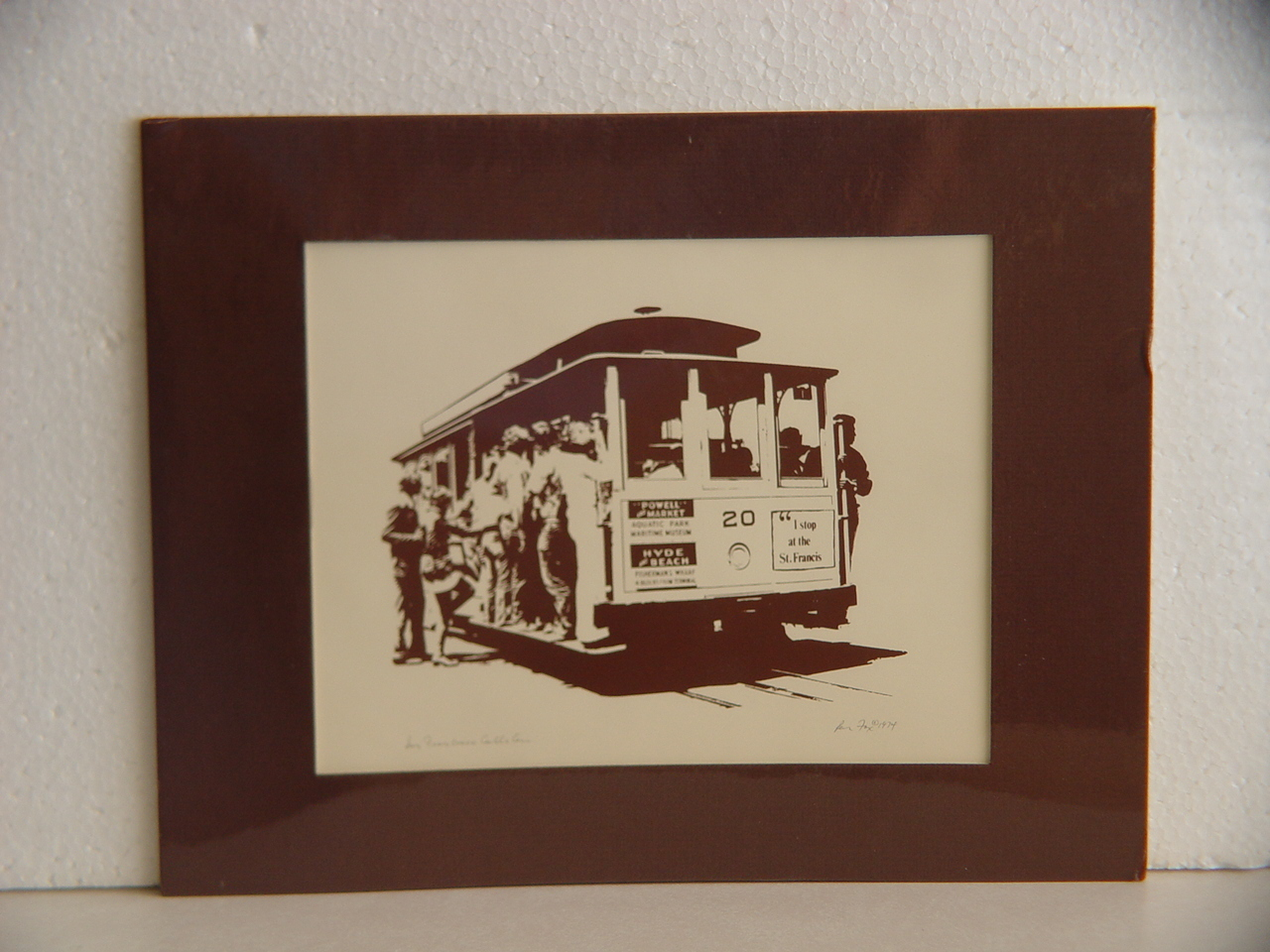 Silk Screen Print of San Francisco Cable Car by Ron Fox 1974