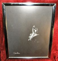 Framed Signed Black & White Print Baby Crying Casandra - $18.00