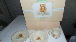 HALLMARK BABY'S KEEPSAKE SERVING BEAR PORCELAIN SET BABY CELEBRATIONS NE... - $34.60