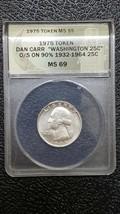 1975 Dan Carr Token Silver Washington Quarter O/S on actual 1932-1964 co... - $140.20