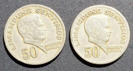 2 Philippine 50 centavo Coins Marcelo H Del Pilar/ Republika Ng Pilipinas  - $3.95