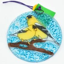 Goldfinch Yellow Finch Fused Art Glass Ornament Sun Catcher Handmade Ecuador