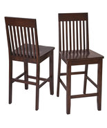 Set of 2 Amaretto Finish Wood Bar Height Bistro... - $164.99
