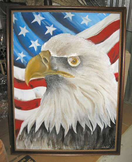 "American Eagle Painting Framed 40""x52"" Signed Frank Walcutt"