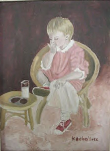 Old Set Little Boy Oil Painting Nursery Childs Room Bedroom