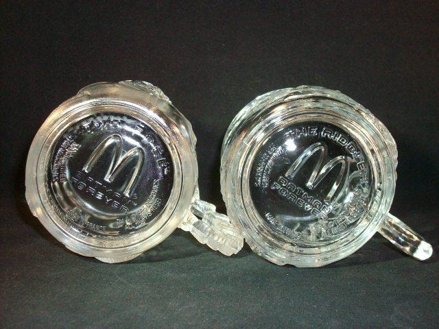 """McDonald's 1995 BATMAN FOREVER """"TWO-FACE"""" & """"THE RIDDLER"""" Glass Mug Set!"""