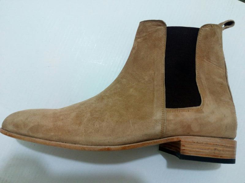 Handmade Men beige chelsea boot, Men ankle suede leather boot, Mens boot