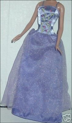 BARBIE Doll's tag Sexy sleeveless purple evening GOWN