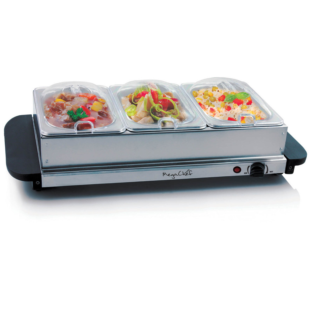 MegaChef Buffet Server & Food Warmer With 3 Removable Sectional Trays , Heat