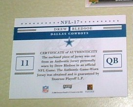 Drew Bledsoe GU Jersey card Dallas Cowboys NFL football
