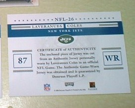 Laveranues Coles Game Used Jersey card NY Jets NFL football