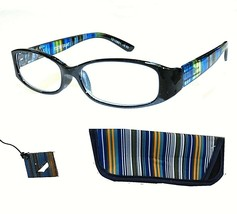+1.00 Strength Foster Grant Black & Blue Rainbow Reading Glasses w Case ... - $6.81