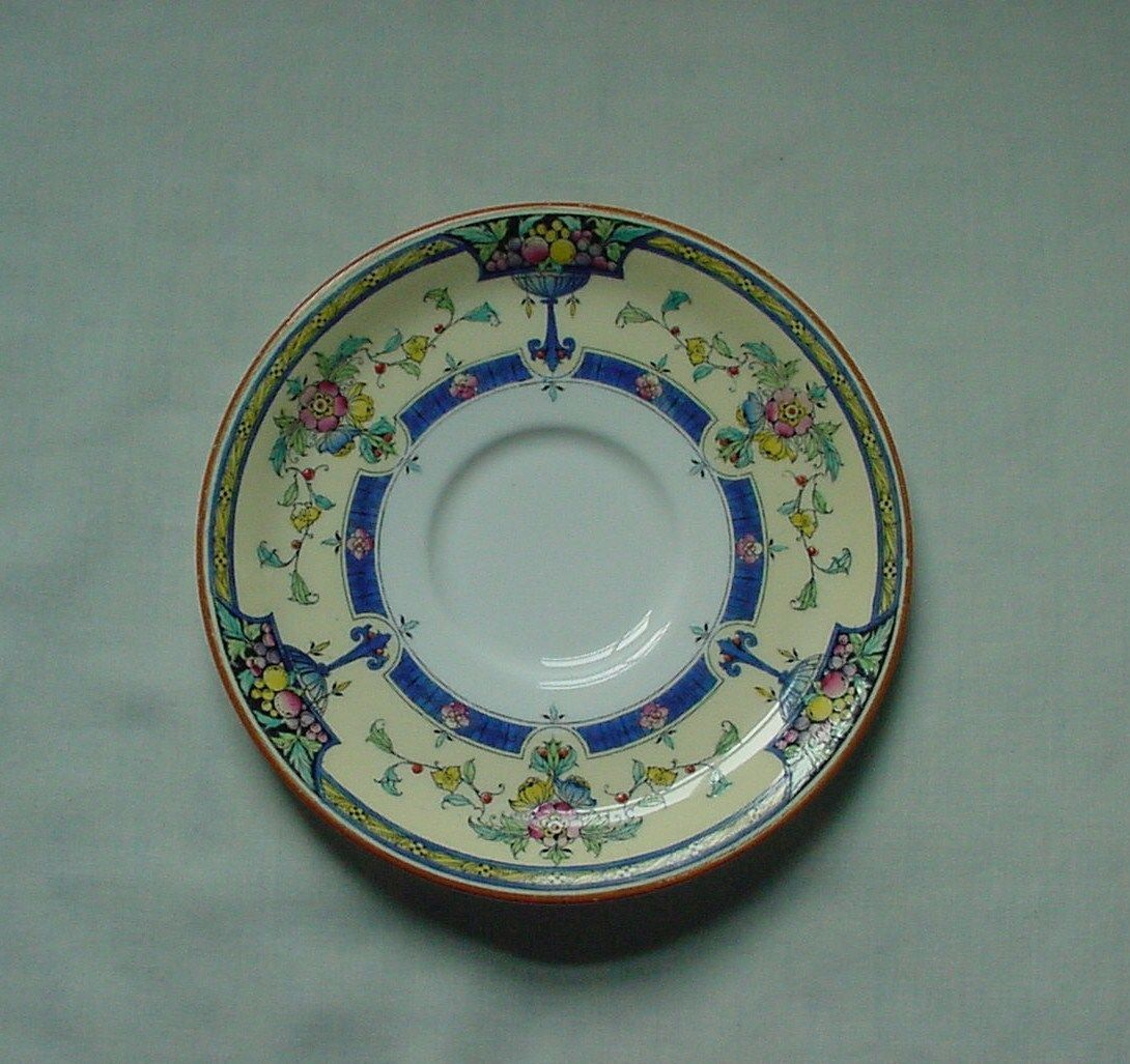 Vintage Royal Worcester Orlando Pattern Plate Saucer Blue Yellow Flowers 6 3/8""