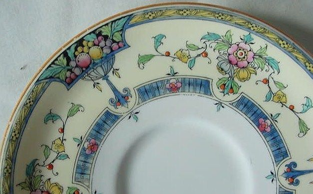 Vintage Royal Worcester Orlando Pattern Plate Saucer Blue Yellow Flowers 5 7/8""