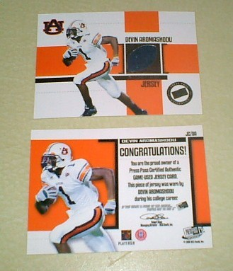 Devin Aromashodu Game Used Jersey 2 cards Chicago Bears NFL