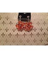 Clipon Flower Cluster Orange earrings Plus FREE pair studs - $7.00