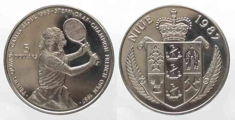 1987 steffi graf niue 5 dollar coin olympics seoul korea - $19.99