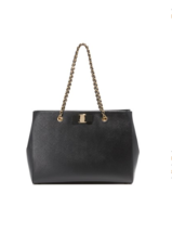 New AUTH Salvatore Ferragamo Melike Top Handle Black Calfskin Leather Ba... - $23.530,22 MXN