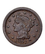 1847 Braided Hair Large Cent 1C Penny (Very Fine, VF Condition) - $77.96 CAD