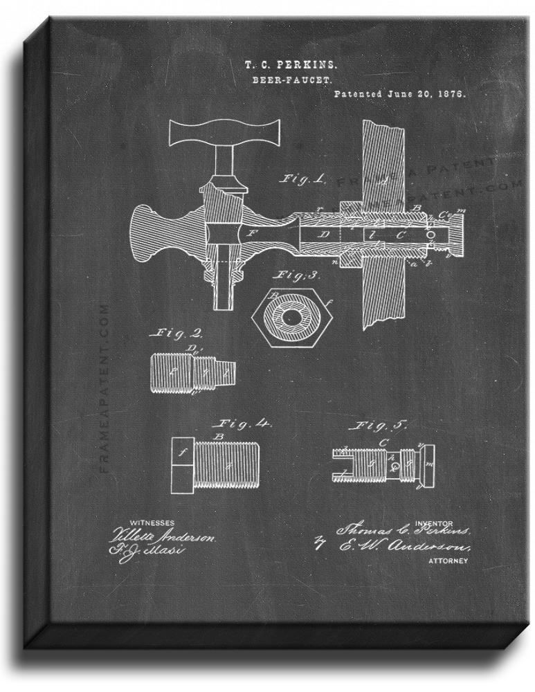 Primary image for Beer Faucets Patent Print Chalkboard on Canvas