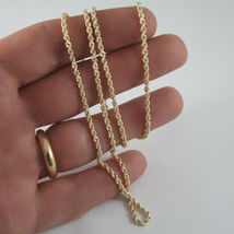 9K YELLOW GOLD ROPE CHAIN, 15.75, BRAID ROPE CORD, NECKLACE, MADE IN ITALY, 9KT image 3
