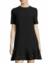 Tahari ASL Short-Sleeve Grommet-Trim Ribbed Knit Dress Black NWOT 8 - $28.80