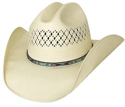 Bullhide Beers Ago Shantung Panama Straw Cowboy Hat Vented Crown Natural - $60.00