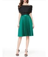 New green knee length pleated satin women skirt spring summer autumn met... - $46.00