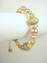 Bracelet with, Sparkly Crystal, Pearls, and Large Hole Beads in Pink, Ma... - $30.00