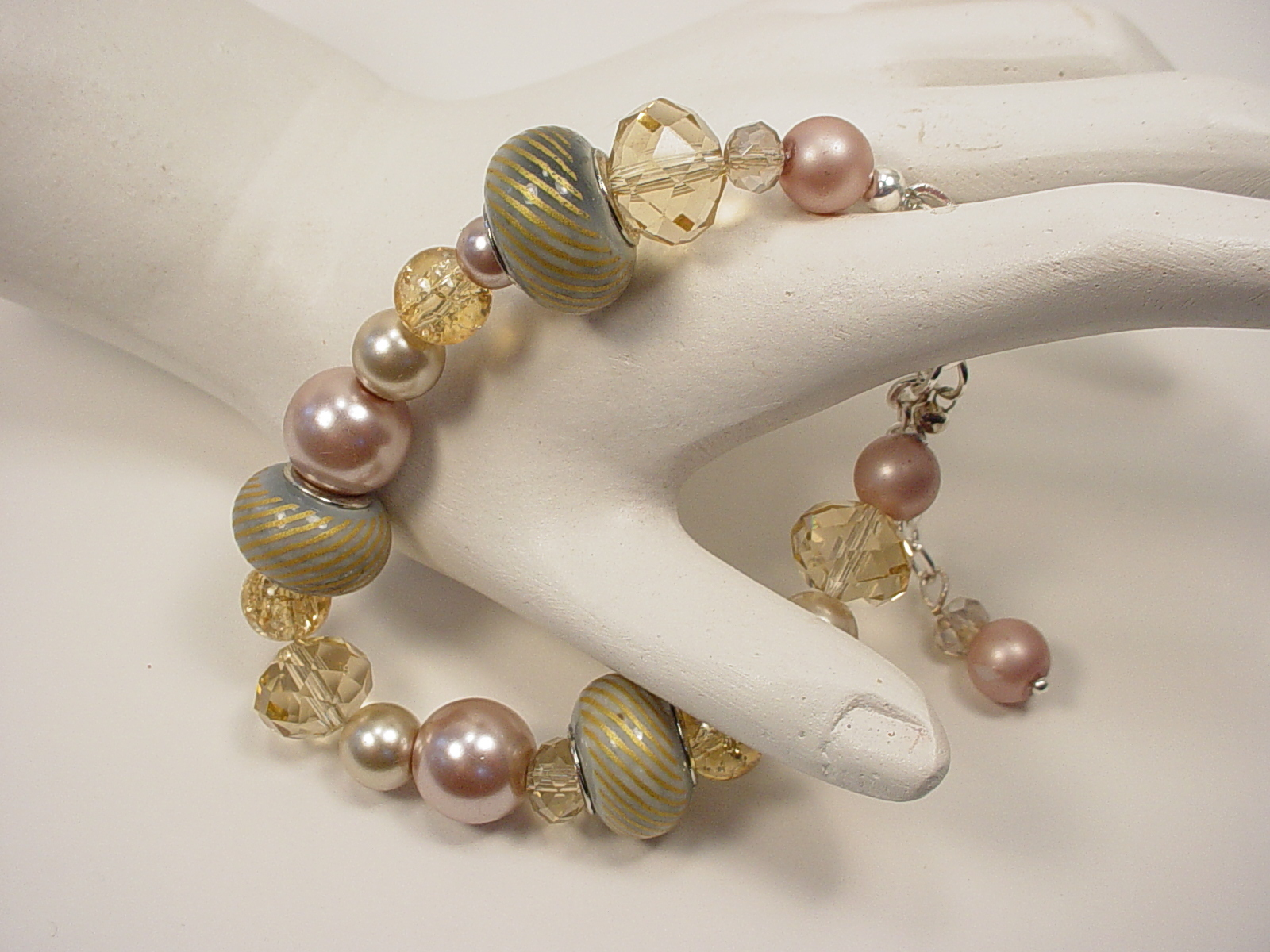 Bracelet with, Sparkly Crystal, Pearls, and Large Hole Beads in Pink, Mauve and