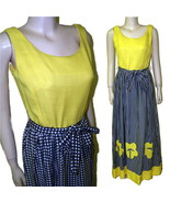 70s Maxi sun dress yellow black linen size B36 modern 8 bumblebee - $24.01