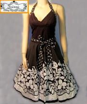 Halter sundress  cotton dress size  small black white - $24.45