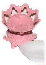 Pedestal Candy or Soap Dish Shabby Cottage Deep... - $19.99