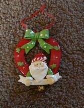 NEW SANTA in Wreath  Clay  Ornament - $3.99