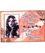 ACEO ATC Art Collage Print Women Time Great Healer Lousy Beautician LAST... - $2.75