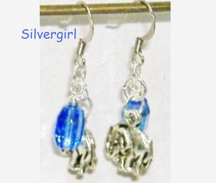 Blue AB Coated Crystal Elephant Charm Dangle Earrings