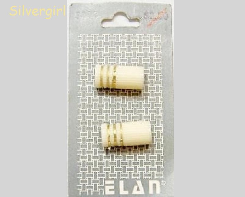 Set of 2 Cream and Gold 2 Hole Plastic Buttons Beads Bonanza