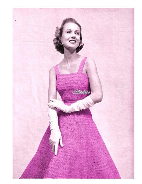 1950s Strappy Full Skirt Dress with Square Neckline - Crochet pattern (PDF 1520) - $3.75