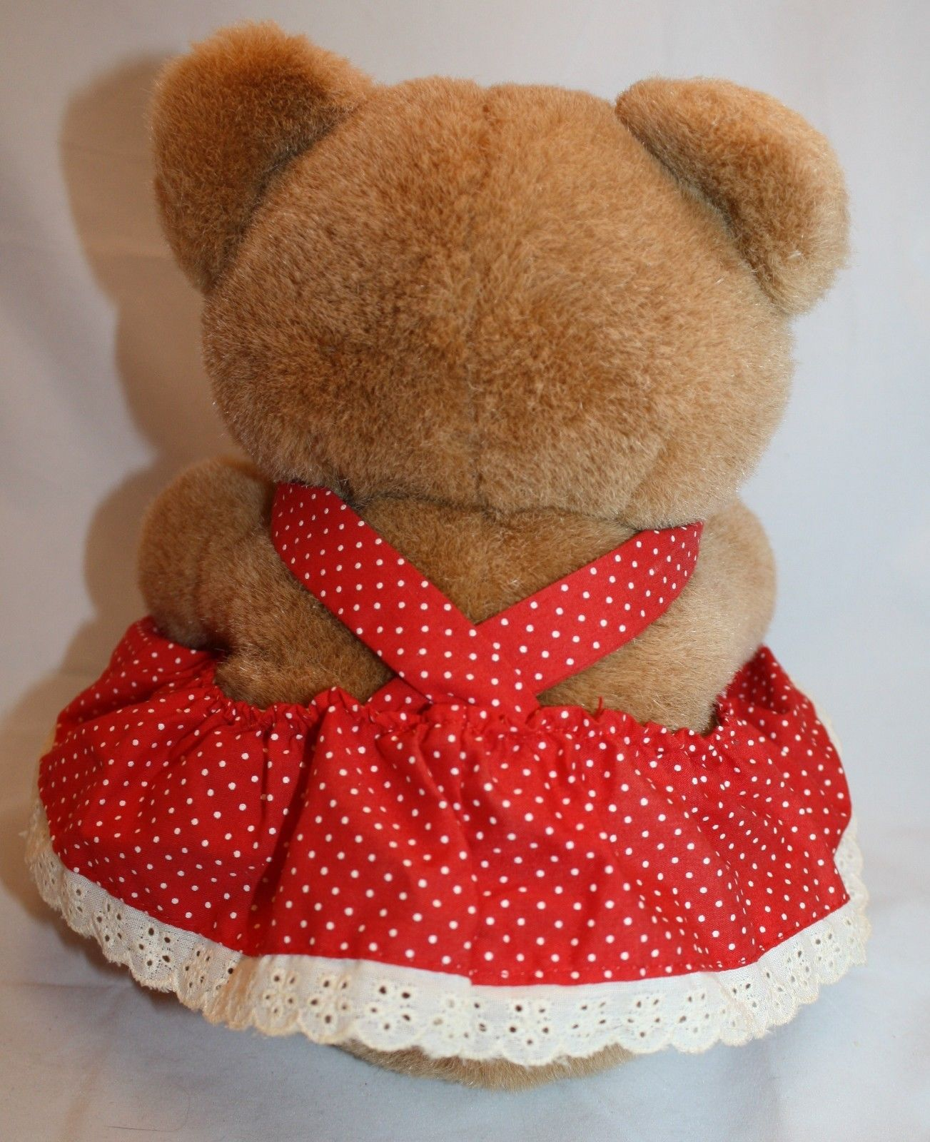 Brown Plush Bear Red Off White Polka Dot Dress Apron Bow 9